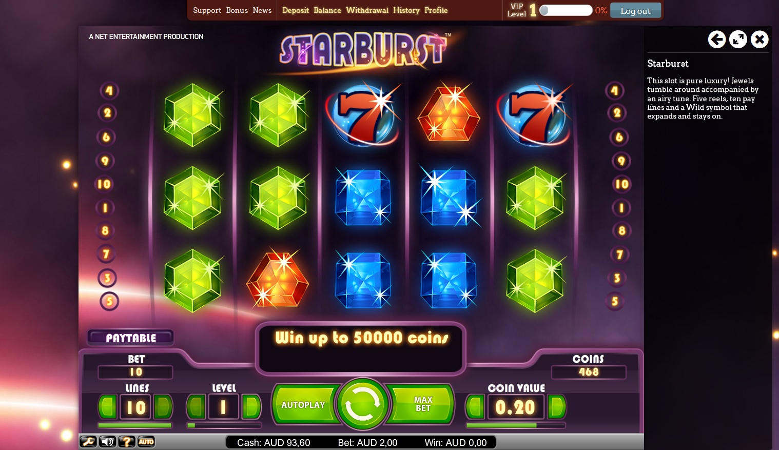 start online casino starbusrt